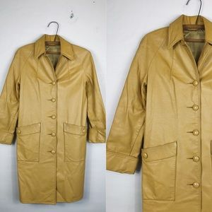 Vintage • Buttery Yellow Leather Coat